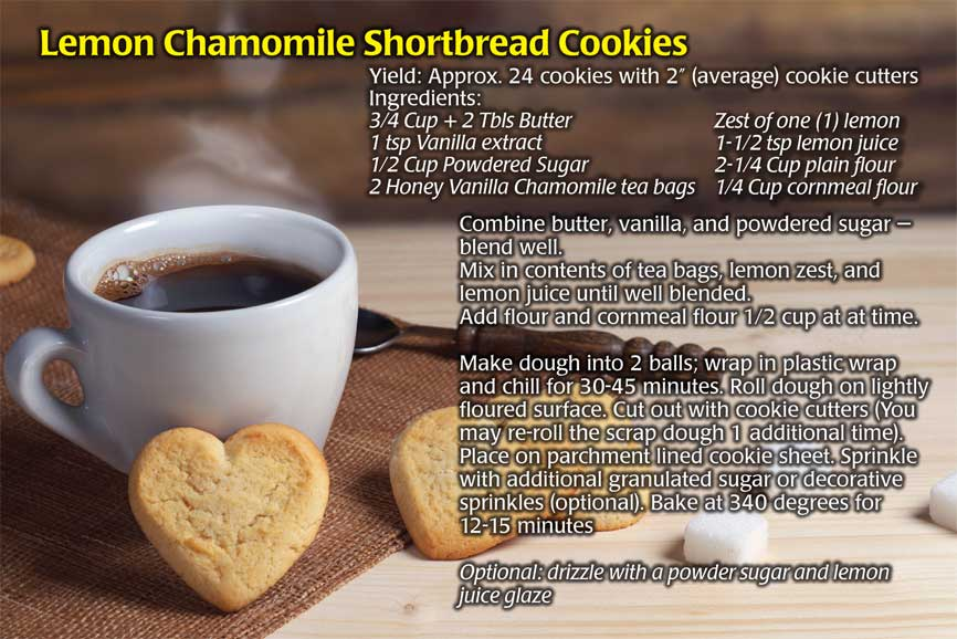 Lemon chamomile shortbread cookies recipe