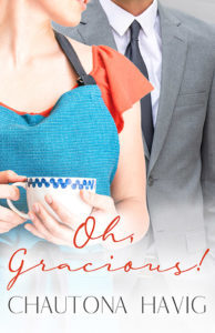 Man in a suit standing near a woman in a dress and apron, holding a tea cup. Oh Gracious, by Chautona Havig.